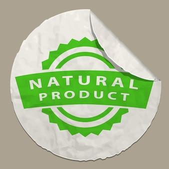 Naturalna ikona produktu na papierowej etykiecie realistyczna papierowa naklejka z zakrzywioną krawędzią