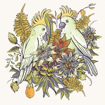 Naturalna kolekcja vintage tropikalnych kwiatów. kartkę z życzeniami passiflora, kwiaty, egzotyczne liście