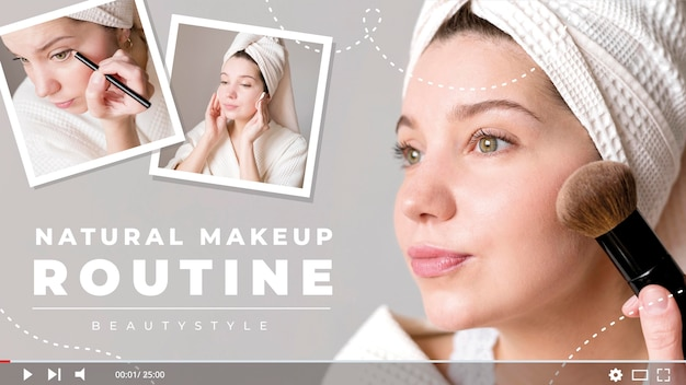 Naturalna miniatura rutynowego makijażu