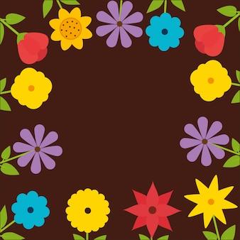 Naturalna ramka z kolorowymi kwiatami