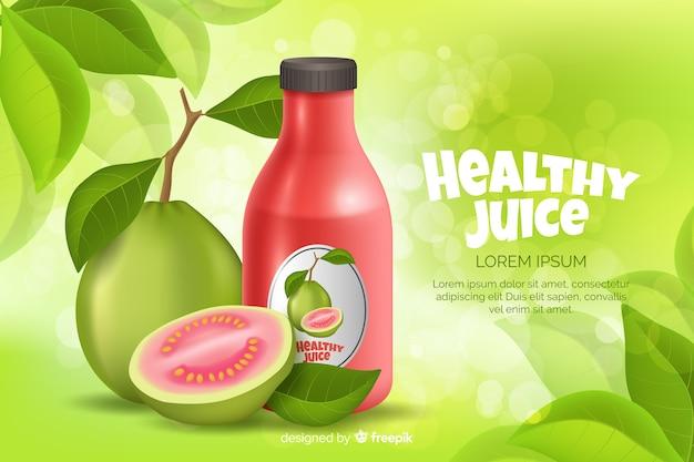 Naturalna reklama soku w realistycznym stylu