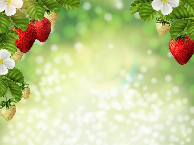 Naturalna tapeta z roślinami truskawek, świeże owoce z liśćmi na zielonym tle bokeh z brokatem