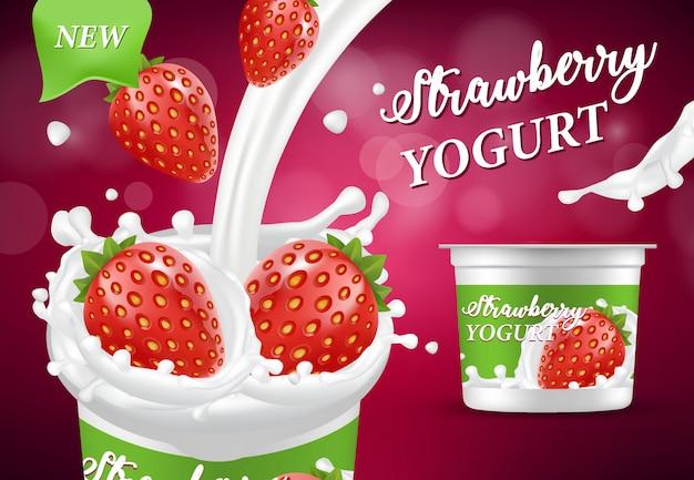 Naturalna truskawkowa jogurt reklama, realistyczna ilustracja