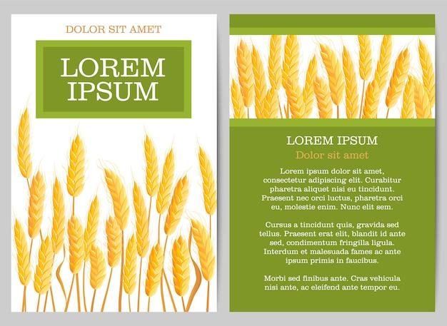 Naturalna ulotka rolnicza z kłosami pszenicy