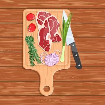Naturalna żywność na desce do krojenia.