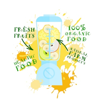 Naturalna żywność produkty ekologiczne koncepcja blender ze świeżymi owocami sok koktajlowy logo