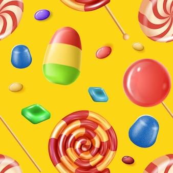Naturalne cukierki owocowe na żółtym tle