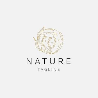 Naturalne drzewo kwiat elegancki złoty kolor logo ikona szablon projektu płaskie wektor ilustracja