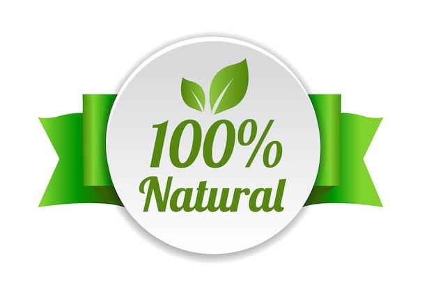 Naturalne etykiety z wstążką białe tło z siatki gradientu, ilustracji