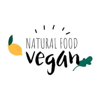 Naturalne jedzenie wegańskie logo wektor