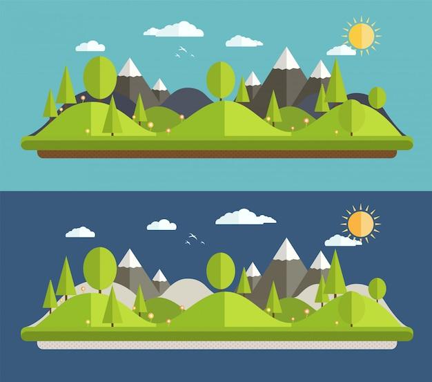 Naturalne krajobrazy w stylu płaskiej na niebieskim tle