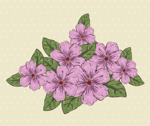 Naturalne kwiaty rośliny z liśćmi i płatkami