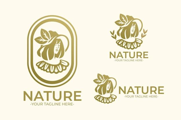 Naturalne logo kobiety w kapeluszu