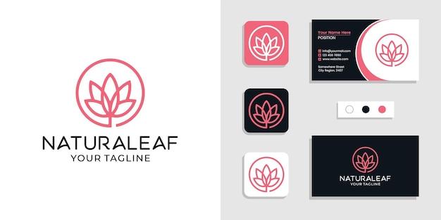 Naturalne logo liścia i inspiracja szablonem wizytówki