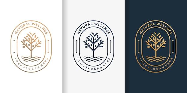 Naturalne logo z luksusowym złotym stylem drzewa i szablonem projektu wizytówki