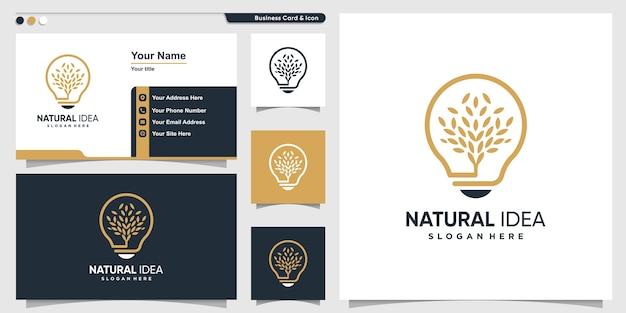 Naturalne logo z unikalnym pomysłem na liść w nowoczesnym stylu i szablonem wizytówki