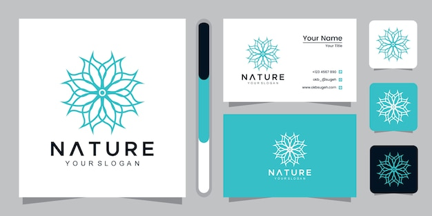 Naturalne logo ze stylem grafiki liniowej i szablonem projektu wizytówki