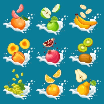Naturalne owoce w kolekcji plamy mleka