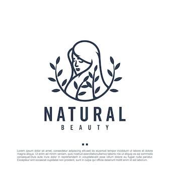 Naturalne piękno, kobieta, szablon logo
