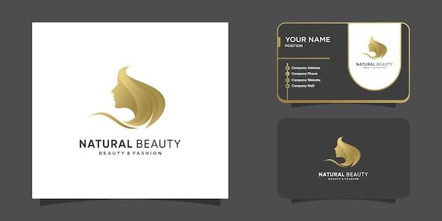 Naturalne piękno w złotym kolorze i unikalnej koncepcji twarzy kobiety premium wektorów