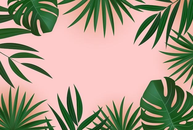 Naturalne realistyczne tło tropikalny liść palmowy zielony i złoty.