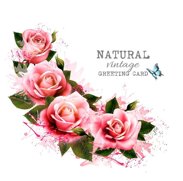 Naturalne rocznika kartkę z życzeniami z różami. wektor.