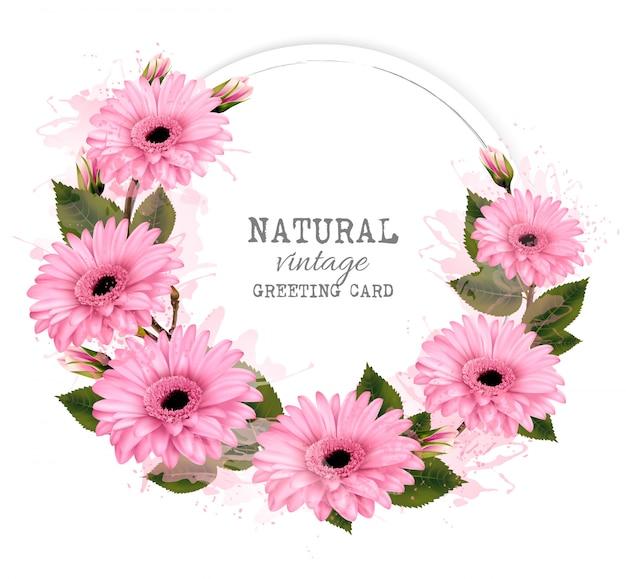 Naturalne rocznika kartkę z życzeniami z różowymi kwiatami. .
