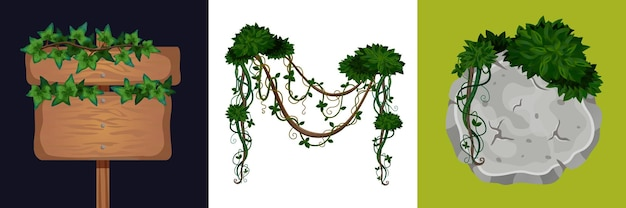Naturalne rośliny zestaw ilustracji
