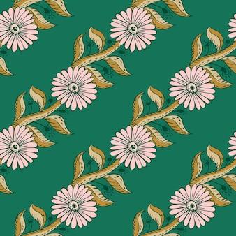 Naturalne słoneczniki różowe po przekątnej wydrukować wzór. jasne turkusowe tło. nadruk ogrodowy. projekt graficzny do owijania tekstur papieru i tkanin. ilustracja wektorowa.