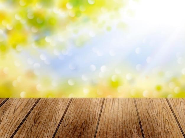 Naturalne tło bokeh, słońce na zewnątrz i zielone liście z drewnianym stołem