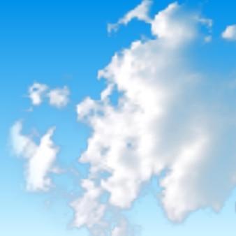 Naturalne tło z chmurą na niebieskim niebie. realistyczna chmura na niebieskim tle. ilustracja wektorowa