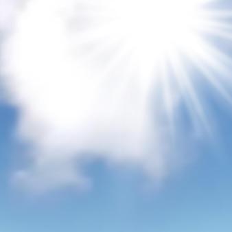 Naturalne tło z chmurami i słońcem na błękitnym niebie. realistyczna chmura na niebieskim tle. ilustracja wektorowa