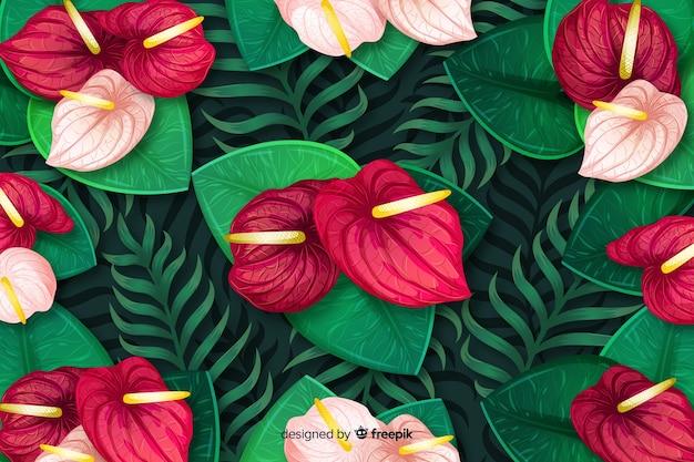 Naturalne tło z kolorowych kwiatów egzotycznych