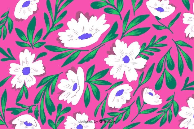 Naturalne tło z kolorowych kwiatów malowane