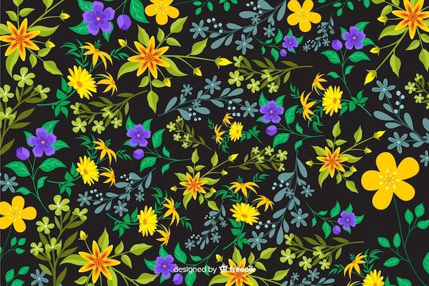 Naturalne tło z kolorowych kwiatów