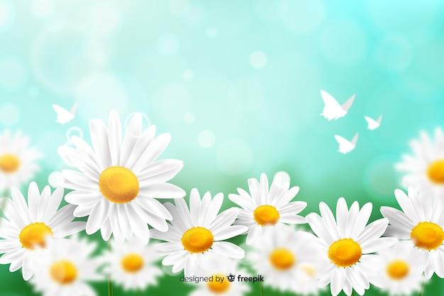 Naturalne tło z realistycznymi kwiatami