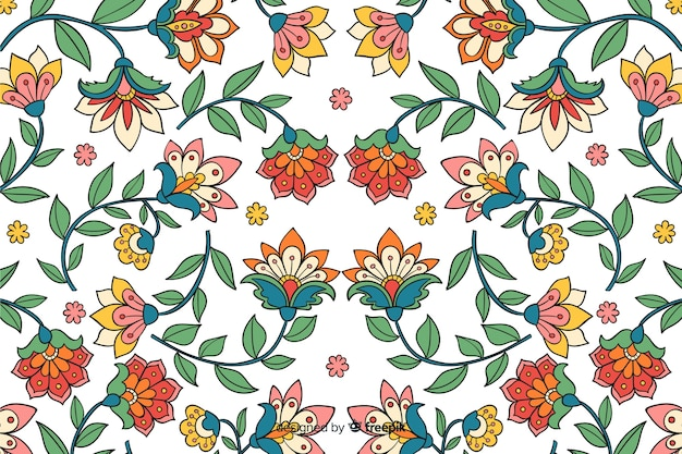 Naturalne tło z ręcznie rysowane kwiaty