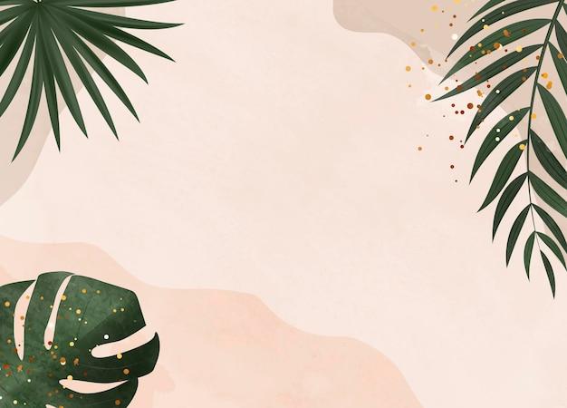 Naturalne tło z tropikalną palmą i liśćmi monstera