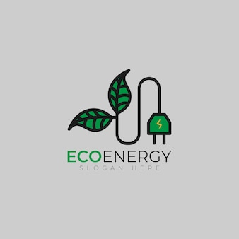 Naturalne zielone logo ekologicznej energii z wtyczką zasilania