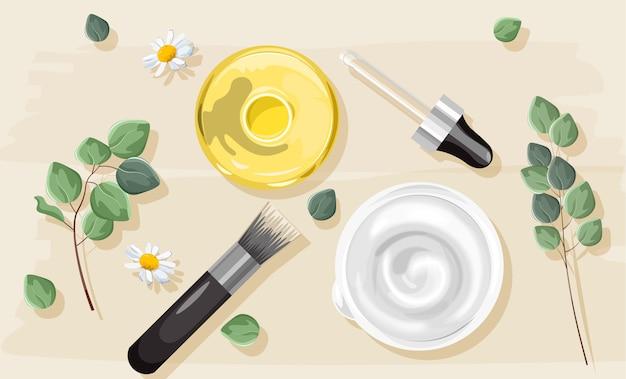 Naturalny biały krem i żółty olej nalewkowy