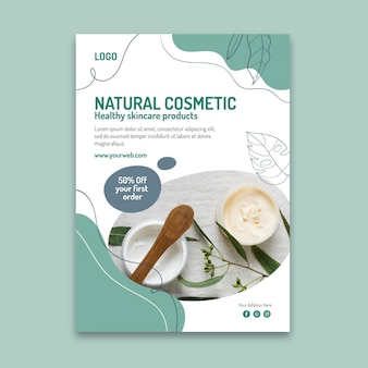 Naturalny kosmetyczny pionowy szablon ulotki