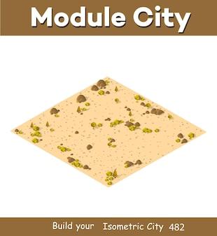 Naturalny krajobraz izometryczny to pustynia z krzewami, piaskiem, kamieniami trawy.