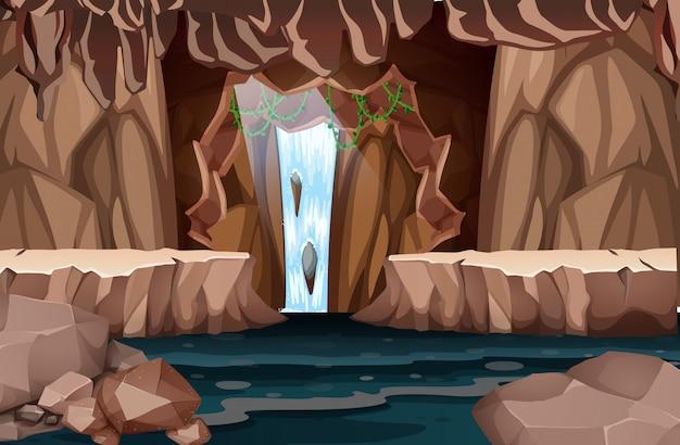 Naturalny krajobraz jaskini wodospadu