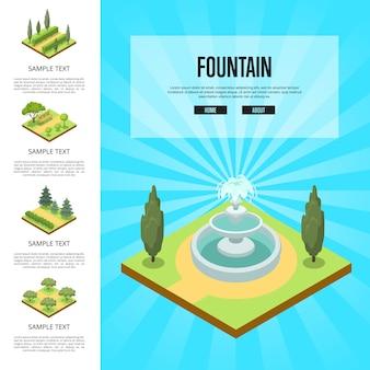 Naturalny krajobraz parku z fontanną