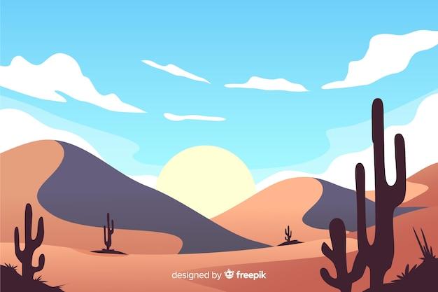 Naturalny krajobraz pustyni ze słońcem