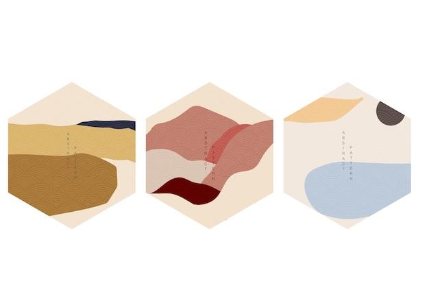 Naturalny krajobraz tło z japońskim wektorem wzór. geometryczny szablon w tradycyjnej japonii. góra w azjatyckim projekcie plakatu. sztuki abstrakcyjne. projektowanie logo i ikon w kształcie sześciokąta.