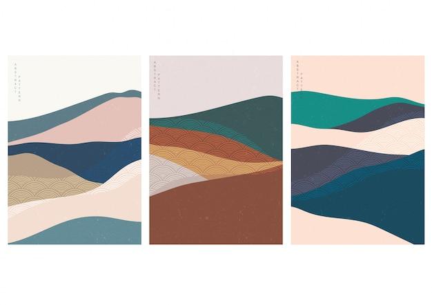 Naturalny krajobraz tło z japońskim wzorem fal. ilustracja szablon góry i lasu.