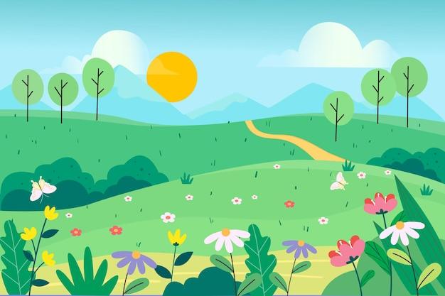 Naturalny krajobraz wiosną