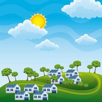 Naturalny krajobraz wzgórza domy panele słoneczne drzewa