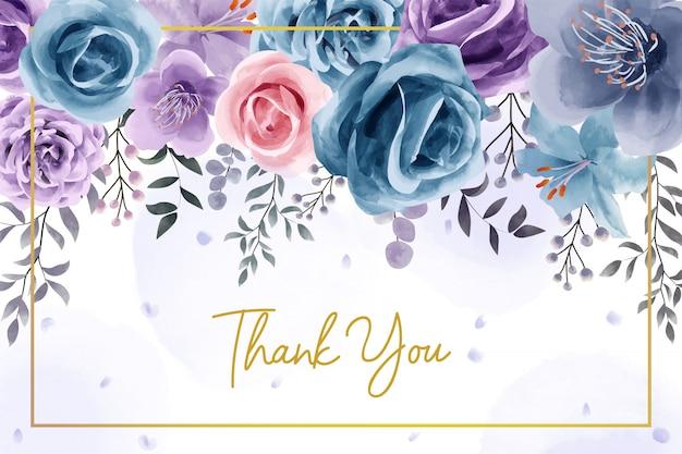 Naturalny kwiat akwarela dziękuję karty